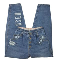 Get Used By Elie Jeans Vintage 90's Size 26 X 32 High Waist Cuffed Distressed