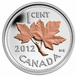 2012 Canada 1 Cent Proof 99.99 Silver And Gold Plated Farewell Penny Beautiful