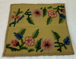 Vintage Tapestry Quilt Wall Hanging Crewel Flowers Leaves Cotton Wool Gold
