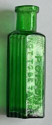 Emerald Green Hexagonal Bottle Embossed And039poisonand039 And039not To Be Takenand039 3 1/4 Inches