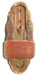 Vintage 1940and039s Art Deco Coca Cola Embossed Tin Advertising Thermometer