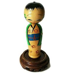 Vintage Japanese Kokeshi Doll Wooden Hand Carved Hand Painted Swivel Head Stand