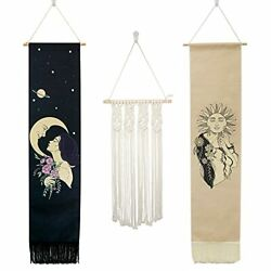 Lilwemen 2 Pcs Sun And Moon Phase Tapestry and 1 Pcs Macrame Wall Hanging Wove