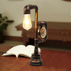 Antique Industrial Single Light Led Lamp Decor+clock Style Water Pipe Desk Lamp