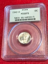 Pcgs Ms66 Fsb 1942 D 10c Mercury Silver Dime Coin-old Green Holder Ogh-may094