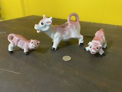 Vintage Pink Cow Creamer And Salt And Pepper Set Cute