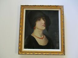 Antique Wpa Oil Painting Russell Pretty Art Deco Flapper Woman Model 1920's Old