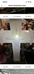 Solar powered LED Cross For Memorial Cemetery Site New AMAZING GRACE $55.99