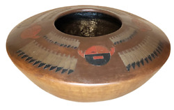 Native American Navajo Indian Pottery Seed Jar By Lorraine Williams