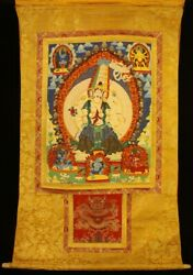 Nice Old Tibet Buddhism Thangka Mother Of Buddhas With A Great White Umbrella