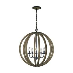 Feiss 5 Light Weathered Oak Wood / Antique Forged Iron Black