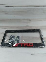 2x Trd Stainless Steel Black License Plate Frame With Screws And Caps
