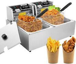 Deep Fryer With Dual Baskets 3600w 12l Stainless Steel Electric Commercial Plus
