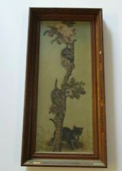 Antique Oil Painting Cat Kitten Kittens Climbing A Tree Restoration Project Old