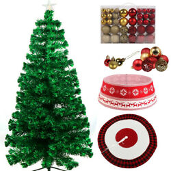 7.5ft Xmas Christmas Led Artificial Tree W Skirt Collar Red Gold Ornaments Combo