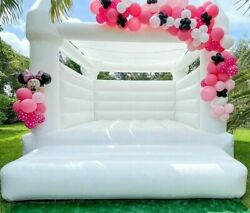 White Inflatable Wedding Bouncer Jumping House For Adult And Kids W/roof Cover