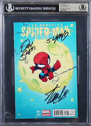 3 Stan Lee, Slott And Young Signed The Superior Spider-man 001 Comic Bas Slab