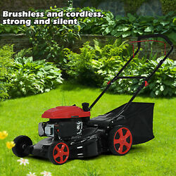 Gas Powered 2-in-1 Push Lawn Mower 161 Cc Engine Adjustable Cutting Height Mower