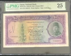 Egypt National Bank 1948-50 King Farouk Andpound 100 Pound Only 22 In Higher Grade
