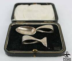 1904 England Sheffield Cooper Brothers And Sons Baby Spoon + Pusher Set W/box