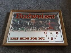 Vintage Budweiser Bud Clydesdale Mirror Sign With Working Clock