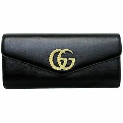 Clutch Bag Black Gold Broadway 594101 Party Coated Leather