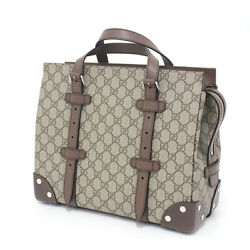 Razor With Detail Gg Tote Bag Supreme Canvas/leather Beige/ebony 643814