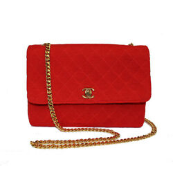 Matelasse Chain Shoulder Bag Jersey Red Women And039s