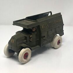 Hubley Bell Telephone Truck Cast Iron Vintage Green