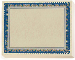 Paperdirect Pageantry Standard Certificate Paper, Blue And Gold Border, 8.5 X 11