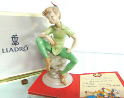 New Signed Lladro Disney Peter Pan Numbered 1360 Limited Edition Figure Box