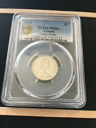 1965 Large Bead Djpcgs Graded Canadian Nickel 5 Cent Ms-64 7715