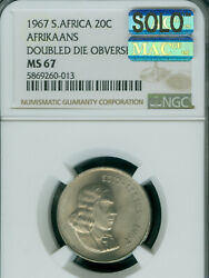 1967 Ddo South Africa Afrikaans 20 Cents Ngc Ms67 Mac Solo Finest 2 Coins Known