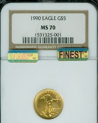 1990 Gold Eagle 5 1/10 Oz Ngc Ms70 Mac Finest Registry And Mac Spotless