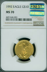 1992 Gold Eagle 10 1/4 Oz Ngc Ms70 Mac Finest Registry And Mac Spotless 001