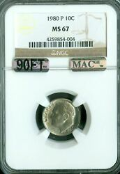 1980-p Roosevelt Dime Ngc Mac Ms67 90ft Pq Finest Spotless 5000.00 In Ft