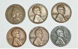 Lincoln Penny 6 Coin Lot With Indian Head And Steel Wheat 1939 S, 1945 D Lincoln
