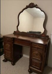 Antique Vanity Dressing Table With Mirror And Dresser, Excellent Condition