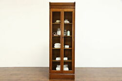 Victorian Antique 7and039 Tall Quarter Sawn Oak Bookcase China Cabinet 38584