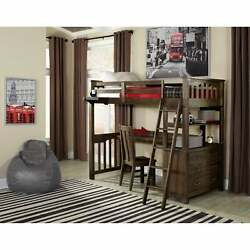 Highlands Twin Loft Bed With Desk And Chair Espresso Espresso Twin