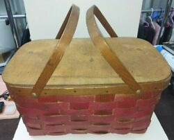 Large Vintage Wicker Basket Picnic Carry Sewing Antique Rustic Country Red