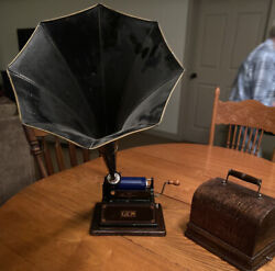 Antique Edison Gem Phonograph With Horn