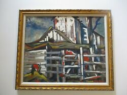 American Regionalism Oil Painting Horse Farm Home Early Impressionist Wpa Style