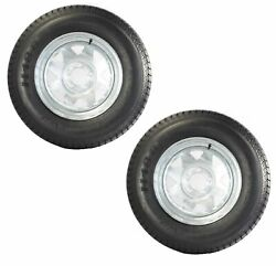 2-pack Trailer Tire On Rim St205/75d15 205/75 15 In. Lrc 5 Hole Galvanized Wheel