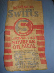 Vintage Swiftand039s Soybean Oil Meal Chicago Ill 100lbs Large Burlap Feed Sack