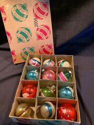 Vintage Christmas 12 Boxed Franke Sons Ornaments Glass