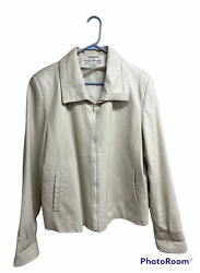 Vintage Dero By Rocco Dand039amelio Womens Jacket Sz Xl Ivory Leather Full Zip Lined