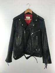 18aw Tiger Embroidered Double Riders Leather Jacket Black Size 50