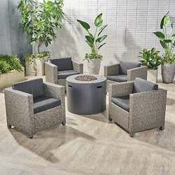 Nolan Outdoor 4 Piece Club Chair Set With Round Fire Pit By