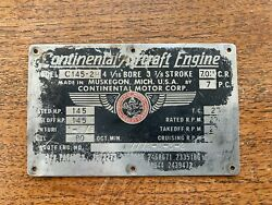 Original Continental C145-2h Data Plate Check It Out